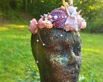 The Sea Maiden, mermaid crown, cosplay, theme , festival crown, shell crown, fairy crown, mermaid, iridescent shell, moonstone, tiara, fairy