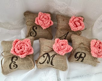 Monogrammed Gift,*Tea Rose* Burlap mini pincushion, 1 or Set of 3,4,5, Monogram, Bridesmaids Gift, BFF Gift, Wedding Decor, Spring decor,