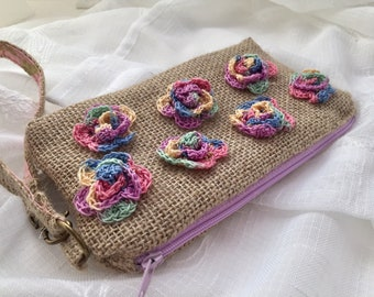 Spring Clutch bag, Flower Clutch bag, Flower Purse, Floral clutch, mini roses, mini crochet Cotton candy flowers, burlap rustic bag,