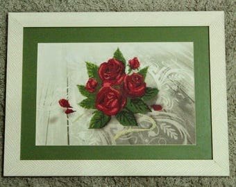 Rose Red Cross Stitch Framed/Red Roses cross-stitch already framed