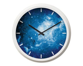 Wall Clock Space Clock Galaxy Wall Clock Home Decor Large Wall Clock Unique Wall Clock Kitchen Clock Wall Print Space Print Clock BP2050