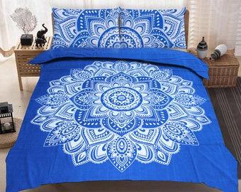 Boho Queen Size Mandala Bedding Duvet Doona Set - Blue Lace Flowers