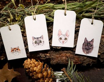 Watercolor Cats - Gift Tag Set