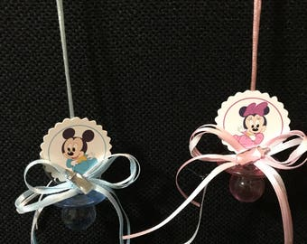 Minnie Mouse / Mickey Mouse Baby Shower Pacifier Necklace (12)