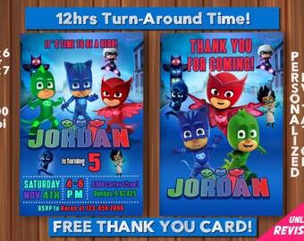 PJ Masks Invitations with FREE Thank you card! PJ Masks Birthday Party Invitation -Printable - Amaya/Owlette - Connor/Catboy - Greg/Gekko