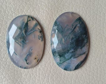 Oval Moss Agate Cabochon Excellent Quality 100% Natural 88 Carat, One Side Cutting Moss Agate Gemstone, Size 42x26x7, 38x27x7 MM Approx.