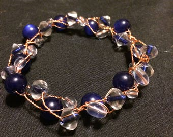 Blue and Translucent recycled twisted copper bracelet