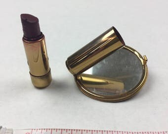 VINTAGE Mirror and Lipstick Compact Gold and Rhinestone