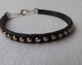 Bracelet black imitation leather and silver studs