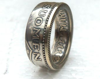 Silver Coin Ring Finland 200 markka and Double Sided - Suomen Tasavalta - Souvenir from Finland
