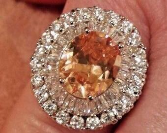 Honey Topaz & White Topaz Gemstone Large Sterling Silver Plated Ring, Size - 9