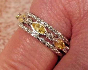 Sterling Silver Plated Yellow & White Topaz Gemstone Eternity Band,  Size 7