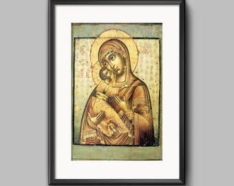 Orthodox icon Virgin Mary Eleusa Russian icon PRINTABLE IMAGE Print Virgin Mary Gift Christian home decor Orthodox wall decor Religious gift