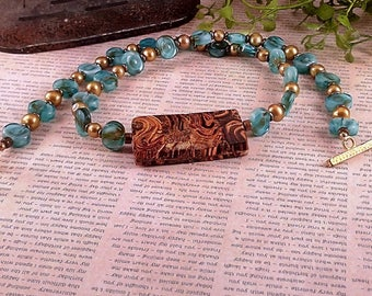 Handmade Glass & Wood Necklace