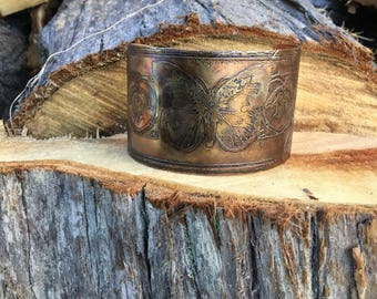 Etched butterfly copper cuff