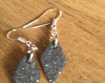 Glitter grey clay earrings