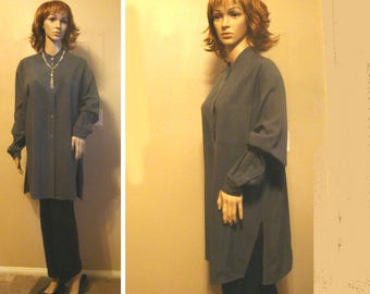 Vintage Silk Suede Tunic Size L, Silk Shirt Jacket, Vintage Silk Blouse Slate Gray, Chic 90's Silk Suede Shirt, Mandarin Collar Silk Tunic