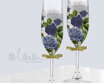 dark blue elegant Rose hand printed 8 oz Champagne glass flute set of 2 - Bride and Groom or bridesmaids -Free Initial/ name personalization