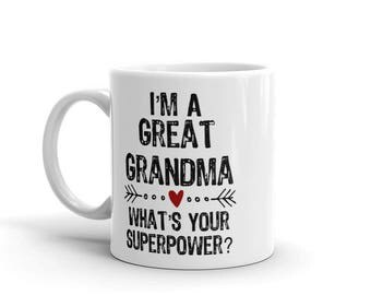 I'm a Great Grandma What's Your Superpower Mug, great grandma gift, great grandma mug,new great grandma,mugs for great grandmothers