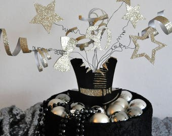 personalised cake topper - top hat explosion