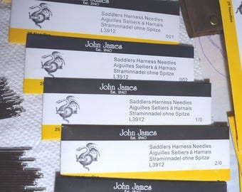 John James Saddlers Harness Needles 25pcs/Blunt Needles/Leather Hand Sewing/Leather Needles/Nickel Plated Needles/Ritza Tiger Thread