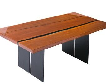 Live edge epoxy river table from White Oak
