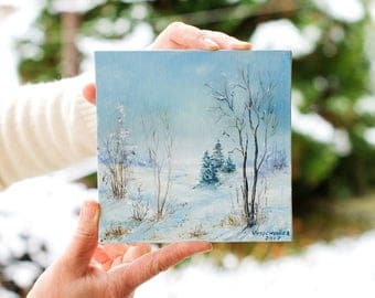 Winter  fields covered with snow // oil painting miniature // 15x15 cm