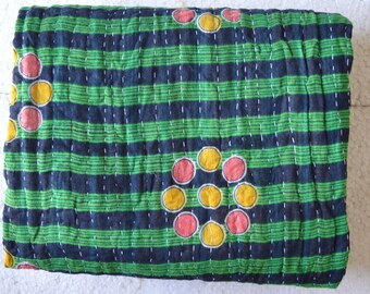 Kantha Vintage Quilt Handmade Cotton Indian Blanket Throw Bedding Reversible G-40