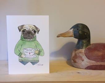 Pug's Cup of Tea - Greetings Card