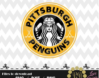Pittsburgh Penguins Coffee,svg,png,dxf,cricut,silhouette,jersey,shirt,proud mom,download,birthday,invitation,sports,cut,starbucks,hockey,cup