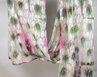 """Green Spots - Hand-dyed Jacquard """"patterned"""" silk"""