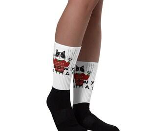 Christmas Cat Socks, Meowy Catmas Socks