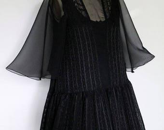 Black on Black Chiffon Flutter Sleeve Dress