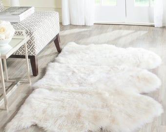 3' x 5' White Cozy, Soft and Stylish Natural Pure Sheepskin Shag Rug, FREE SHIPPING