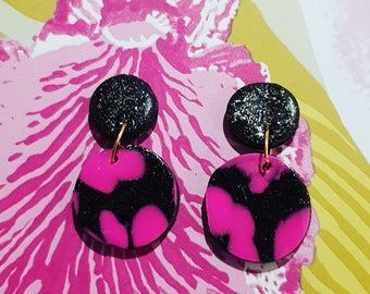 Hot pink sparkly polymer clay earrings