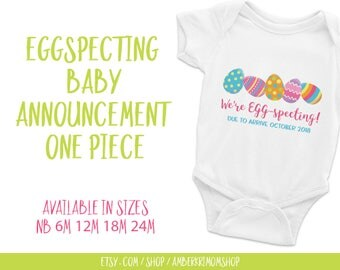 Baby Bodysuit, Baby One-Piece, Cute Infant Bodysuit, Easter One-Piece, Egg-specting Easter Baby Announcement One-Piece White