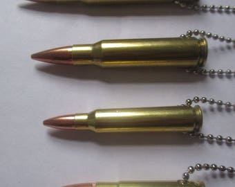 """30-06,308,223,300 blackout bullet necklaces. brass or nickel with a 24"""" inch USA made chain"""
