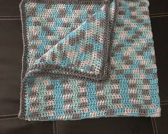Blue and Grey Baby Blanket