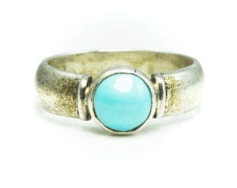 Beautiful Sterling Silver Round Turquoise Solitaire Wide Band Ring 8mm Size 7