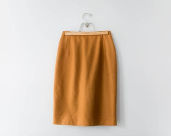 Vintage Burnt Orange Wool Pencil Skirt // 80's Orange Wool Classic Skirt with Pockets // Women's Size 8 // Harve Benard Skirt