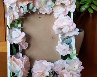 Valentine gift / home decor -- handmade white floral frame-- 'Cherry Blossom' -- Boho -- Romantic -- Rustic -- Botanical -- bedroom