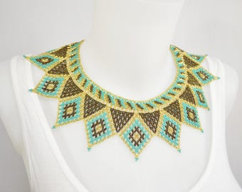 LUUV - ARLEQUI necklace - gold / Turquoise / Brown - style Bohemian exotic