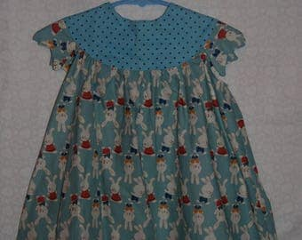 Blue Dress with Dots and White Rabbits