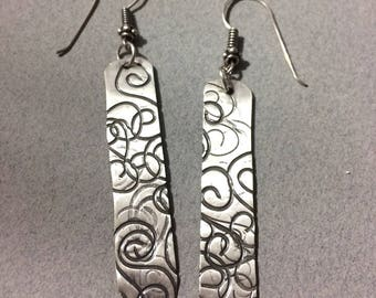 Sterling Silver Earrings with Spiral Texture Design