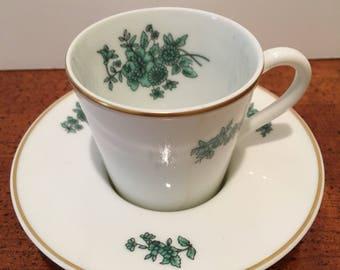 """Vintage Vista Alegre """"Green Rose"""" Demitasse Cup & Saucer"""