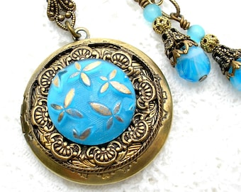 Blue Glass Button Brass Locket and Earrings- Antiqued Brass- Morning Glory Designs