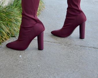 Ladies Sock Boot Heels