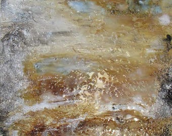 Painting on canvas, acrylic paint, mixed media, resin coated, 40x120