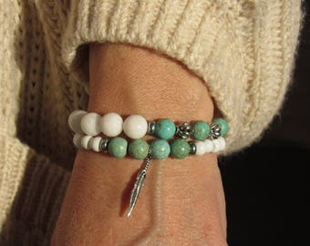 Native American Inspired Turquoise Two-Piece Beaded Bracelet Set