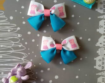 Peppa pig hair bow Blue Pink Hair bows Peppa and Jorge Birthday party Hair accessory for girls alligator clip Grosgrain ribbon